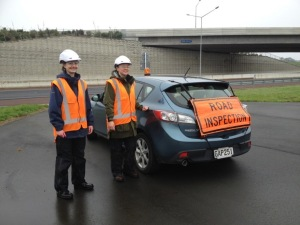 Road ecology research often requires the use of an orange flashing light on your car! Esther Dale (L) and Dr Cheryl Krull (R) during Cheryl's postdoc research on rodent behaviour around roads.