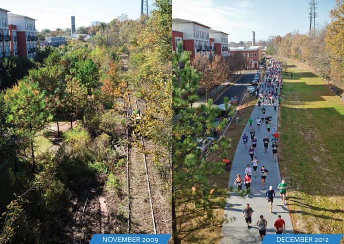The Atlanta Beltline converted disused railway tracks into 23-mile recreational greenway which is designed to integrate an evolving ecological landscape into the everyday lives of the city's residents.