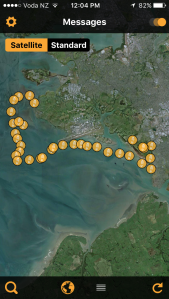 The adventures of S5 - the live feed of GPS locations for S5 in the Manukau Harbour shown through an app on my phone